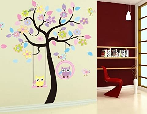 Huge Removable Swing Owl Tree Wall Decal Sticker for Baby Nursery