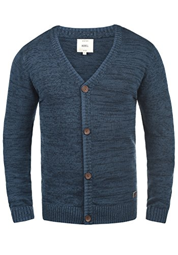 Redefined Rebel Miles Herren Strickjacke Cardigan Feinstrick Mit V-Ausschnitt und Knopfleiste Aus 100% Baumwolle, Größe:XL, Farbe:True Blue