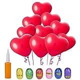 ZeWoo 100 Pcs en forma de corazón Globos de Fiesta de Colores Diversos para Bodas, Fiestas de Cumpleaños + 1 Pcs Bomba + 6 Pcs Cinta coloreada (Heart shaped, red)