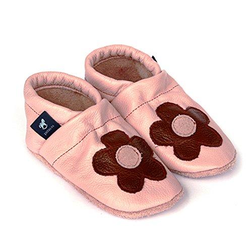 pantau.eu Leder Lauflernschuhe Krabbelschuhe Lederpuschen Babyschuhe mit Blume mittig ROSA_BRAUN