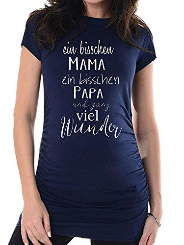 Navy Mama und Papa, 38, Umstands T-Shirt/Schwangerschafts T-Shirt, Bedrucktes Shirt für die Werdende Mutter, Tolles Geschenk, Witzig, liebevoll