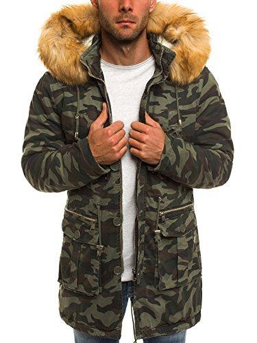 OZONEE Herren Winterjacke Parka Jacke Kapuzenjacke Wärmejacke Wintermantel Coat X-FEEL 88620 Camo 2XL