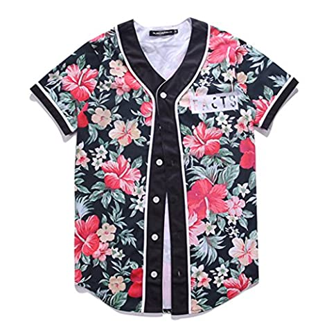 Pizoff men's t-shirts with button round neck short sleeve Flower