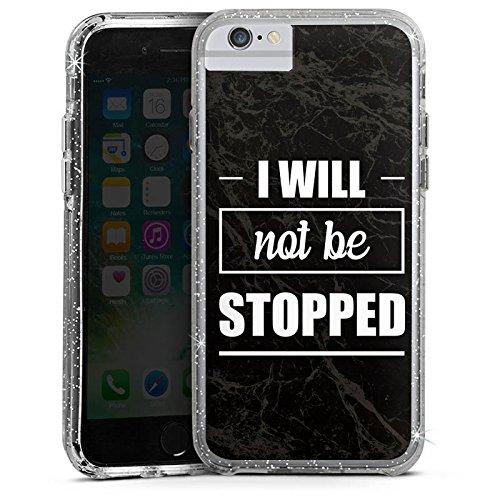 Apple iPhone 6 Bumper Hülle Bumper Case Glitzer Hülle Stop Workout Fitness Bumper Case Glitzer silber