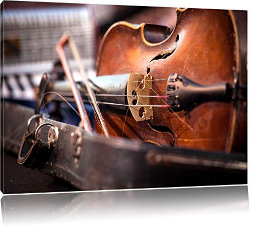 Alte-Violine-Format-100x70-auf-Leinwand-XXL-riesige-Bilder-fertig-gerahmt-mit-Keilrahmen-Kunstdruck-auf-Wandbild-mit-Rahmen-gnstiger-als-Gemlde-oder-lbild-kein-Poster-oder-Plakat