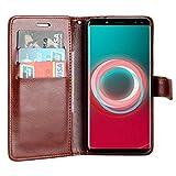 Raiphy Leder Brieftasche Hülle für Ulefone Power 3S ,Telefon schützender lederner Fall mit einem Einbauschlitz und Standfunktion (Braun)