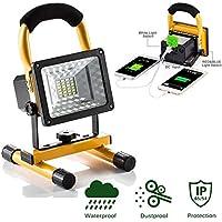 lanfu LED blanco 15W/recargables Piso iluminación/camping Lámpara de trabajo/Faro/PLF-20K–Foco de Luz LED Foco con práctico inalámbrico portátil Trabajo Faro