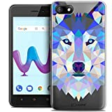Caseink Coque pour Wiko Sunny 3 (5) Housse Etui [Crystal Gel HD Polygon Series Animal - Souple - Ultra Fin - Imprimé en France] Loup