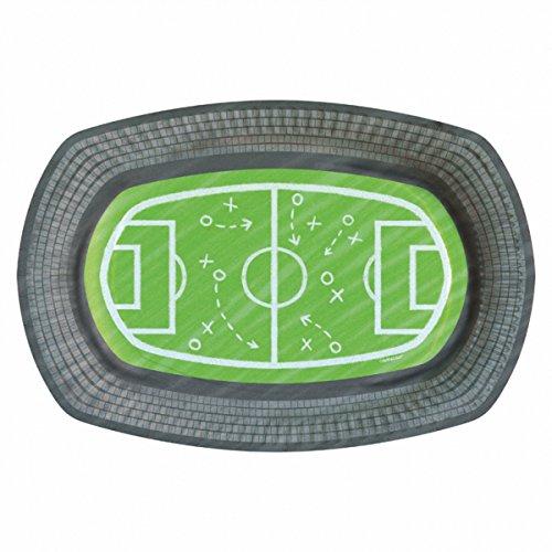 studio four Party Dekoration Servierplatten Fußballfeld, Fußballparty Weltmeisterschaft, 6 Stück, Mehrfarbig