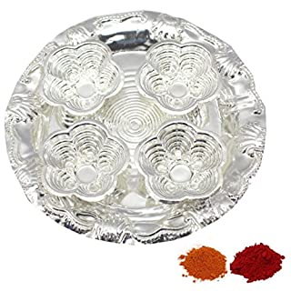 Amba Handicraft Indische Traditionelle Deko Pooja Thali, schöne Lakshmi Festival ethnische Geschenk für Sie/Kankavati / Diwali/indisches Kunsthandwerk/Zuhause / Tempel/Büro / Hochzeit Geschenk GS24