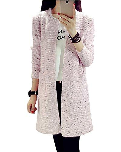Femme Dans la longue section amincissent Pull Tricoté manche longue cardigan en maille Pink L