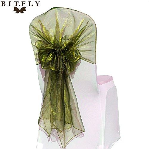 BITFLY 10 rubans en organza Housse de chaise nœuds rubans nœuds de mariage décoration de fête en plus grand 65cm x 275cm 30 Couleur olive verte