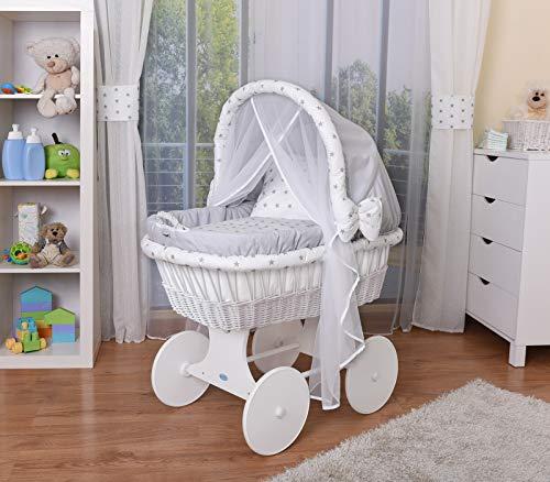 WALDIN Baby Stubenwagen-Set mit Ausstattung,XXL,Bollerwagen,komplett,44 Modelle wählbar,Gestell/Räder weiß lackiert,Stoffe grau/Sterne-grau (Korb Grau Bett-decke)