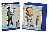 3 tlg. Set Fotorahmenkarte + Umschlag - Jungen Schulanfang Party Dankeskarte Schuleinführung Foto blau