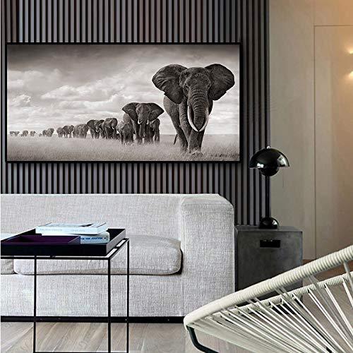 RTCKF Seven Running Horses Peinture Art sur Toile Art sur Toile Or Affiches et Gravures Art Mural Moderne Art Décoration Salon (sans Cadre) A2 20x40CM