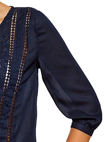 oodji Ultra Damen Gerade Bluse mit Stickerei Blau (7900N)