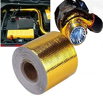 SUNWAN cinta adhesiva de aluminio dorado para conducto de conducto, 10 x 5 cm, cinta protectora de calor de alta temperatura para tubería de vapor de coche