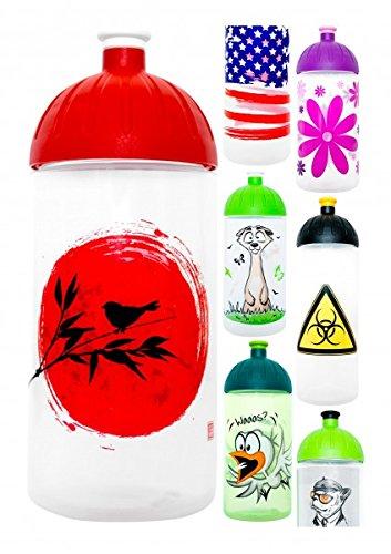 ISYbe Trinkflasche 500ml Vogel-Japan, weiß-transparent, schadstofffrei, spülmaschinengeeignet, auslaufsicher Japan Vogel