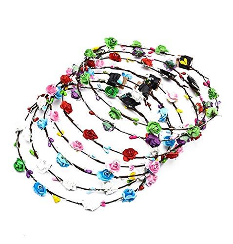 Acidea Blumen Stirnband, 7 Stück LED Rebe Stirnbänder Kranz Haarband Damen Frauen Blumendekor Kopfschmuck Blumenkrone Leucht KopfstüCk füR Hochzeit Party