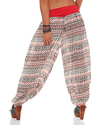 malito Damen Pumphose in vielen Farben und Mustern   Haremshose zum Tanzen   Aladinhose zum Chillen - Freizeithose 7194 coral-Ethno