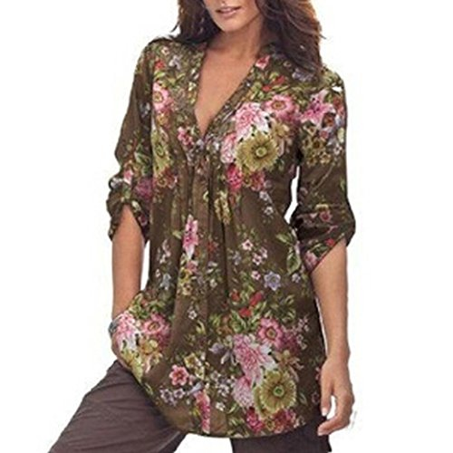 LD Neuer Mode Frauen Vintage Blumendruck V-Ausschnitt Tunika Bluse T-Shirt Tops Damenmode Plus Size Tops Oberteil(S-6XL) (Kaffee, S) (Womens Roben Plus Größe Kurze)