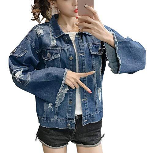 Jeans jacket primaverile autunno elegante corto giacca donna sciolto maniche tassels dietro cordoncino grazioso giacca moda strappato sciolto casual outerwear (color : blau, size : m)