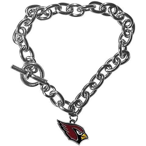 NFL Arizona Cardinals Charm Chain Bracelets, Silver by Siskiyou