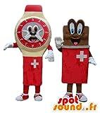 Due mascotte SpotSound Amazon, un orologio, e una tavoletta di cioccolato, svizzeri