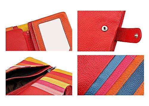 DcSpring Portafoglio in Vera Pelle Porta carte di credito Lungo Portamonete Elegante Pochette Grande Capacità Cerniera per Donna (Arancia) Rosso