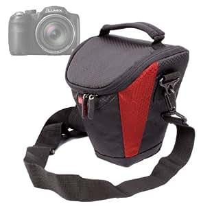 Housse étui de protection noir / rouge résistant à l'eau pour appareils photos SLR Panasonic Lumix DMC-GH3K, DMC-FZ200EGK et DMC-GF6 - bandoulière réglable