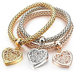 Jewels Galaxy Valentine Hearts Edition Triple Layer 18K Rose Gold & Platinum Plated Dangling Charm Bracelet For Women/Girls