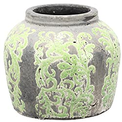 A&B Home Dt0353 9.5 X 8 In. Terracotta Jar& Gray & Lime Green