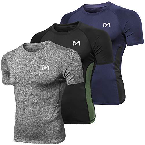 MEETYOO Kompressionsshirt Herren, Laufshirt Kurzarm Funktionsshirt Atmungsaktiv Sportshirt Männer T-Shirt für Running Jogging Fitness Gym