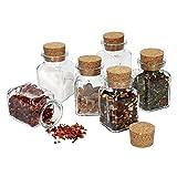 MamboCat 6tlg. Set di Bicchieri da tè con Tappo in Sughero I Vetro Quadrato 150 ML I Riutilizzabile Barattolo per conservare Erbe da Cucina & spezie