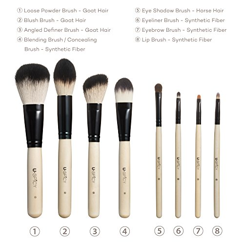USpicy Makeup Brushes 8 Pieces Make up Brushes Set Professional Soft Makeup Kit (White)