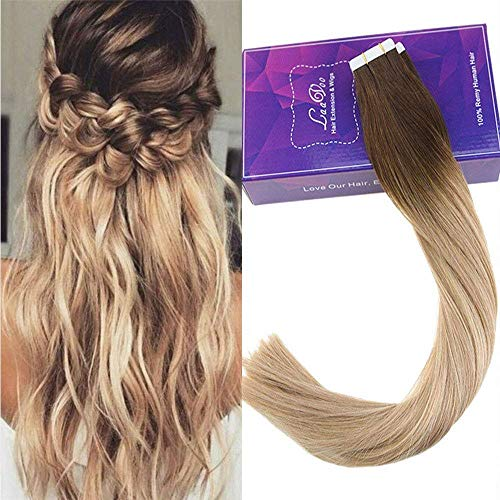 Laavoo 16 Pulgadas Tape In Remy Extensiones De Cabello Real 4t18 24 Dark Brown To Ash Blonde And Light Blonde Weft Tape 50 Gramos 2 5g S