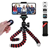 Phone Tripod, Portable and Flexible Camera Stand Holder with Wireless Remote and Universal Clip for Smart Phone, Android Phone, Camera, Sports Camera GoPro (Medium 11.02
