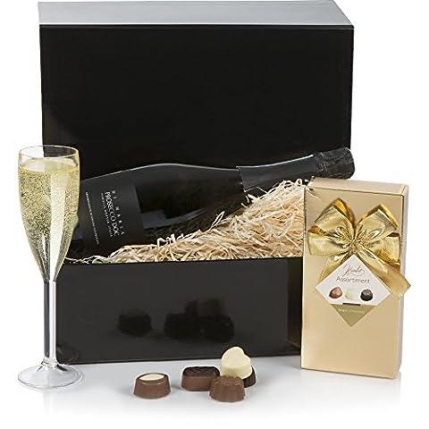 Prosecco & Pralinen-Geschenkset - Der perfekte Luxus-Geschenkkorb - Geburtstag, Glückwünsche,
