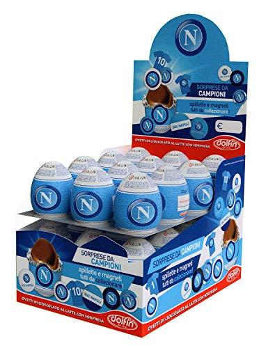 Dolfin ssc napoli, ovetti napoli calcio di cioccolato finissimo al latte con tante sorprese da collezionare. confezione da 24 pezzi. senza glutine / gluten free