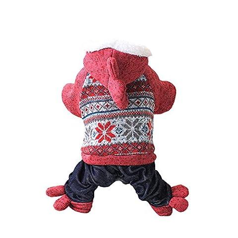 Schneeflocke Strickpullover Weihnachten Hundemantel mit Kapuze Hosen Hundepullover Wolle Warme Hoodie Hundestrickjacke Herbst Wintermantel Rot XS