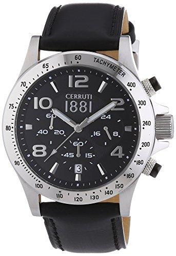 Cerruti - CRA101A222G - Montre Homme - Quartz - Analogique - Chronomètre - Bracelet Cuir Noir