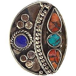 silvestoo India Lapis Lazuli, coral y turquesa Anillo SZ 8.5pg-117562