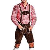 FROHSINN Herren Kurze Trachten Lederhose - 100% Leder Hose mit Abnehmbaren Hosenträgern, kurz (braun, 48)
