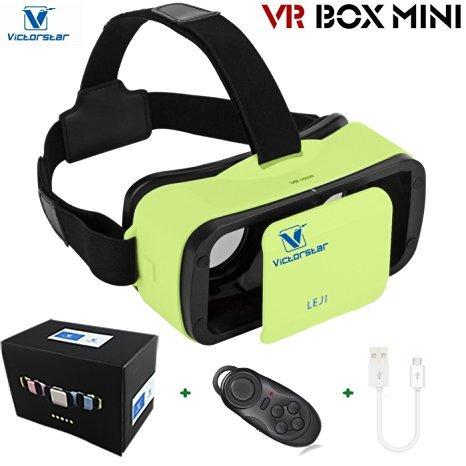VICTORSTAR @ VR BOX MINI con telecomando,VR MINI Occhiali 3D del casco,VR Occhiali da vista,Portabilità 174g con regolabile Alunno e Focal Distanza Per 4,5 a 5,5 pollici smartphone (green)