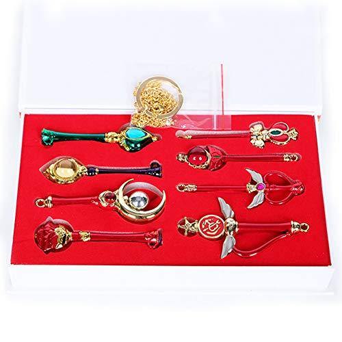 YinXX Sailor Moon 8 Pcs Anhänger Halskette Set - Hochwertige Legierung Transformator Cane Hängende Halskette Schlüsselbund Perfekte Sammlung Geschenk Spielzeug