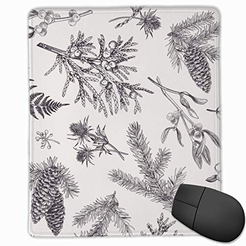 Cone Black Christmas Pattern Gravur Vintage Leaf Winter White Forest Mistel Nadelbaum Mauspad Cute Mouse Pad Gummibasis Mousepad mit Stitched Edge wasserdicht Office Mouse Pad 7 X 8,6 Zoll