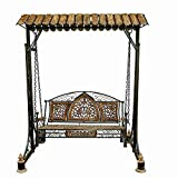 #4: Aafiya Handicrafts Solid Wood & Iron Designer Swings/Jhoola for Home & Garden Floor-Standing, Hammock- Af0354