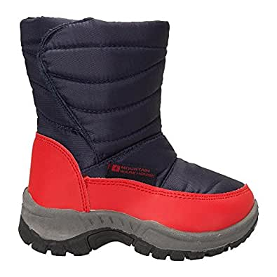 Mountain Warehouse Caribou Junior Kids Snow Boots - Snowproof, Fleece Lining, Warm, Insulated, High Traction Sole - Ideal For Cold Winter Weather Blue 7 Child UK