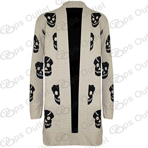 Être Jealous Avant drapé effet cascade à Tête Long tricot Cardigan Gris - Stone - Knitwear Bones Skeleton