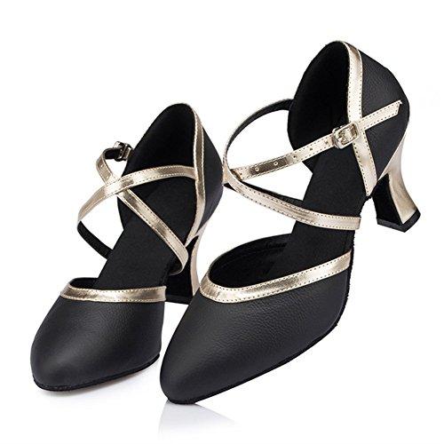 GUOSHIJITUAN [Frauen Latein Tanzschuhe,Schwarz Leder [Leise Unten] High Heel Gb Tango Soziale Tanzschuhe-A Fußlänge=25.8CM(10.2Inch)